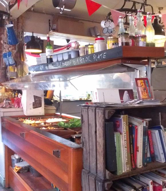 Salad bar and bookshelf