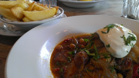 Magdalen Arms rabbit and chips