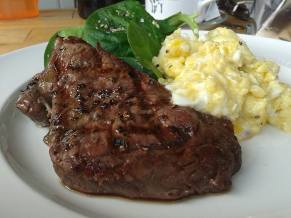 Jacobs Chop House steak and eggs